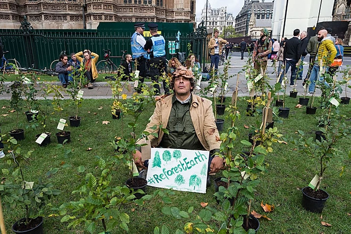 Extinction Rebellion Outside Parliament Calling on MPs to Plant Trees